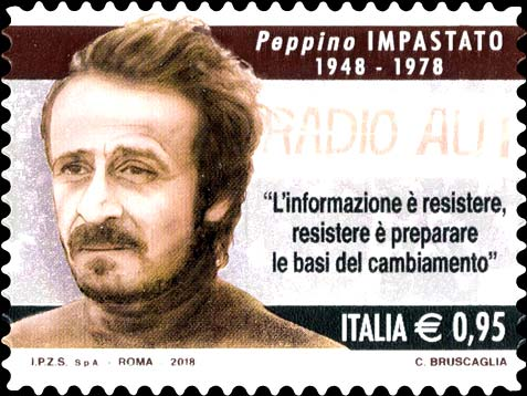 Italienische Briefmarke für den Anti-Mafia Kämpfer Peppino Impasto (Quelle: ibolli.it)